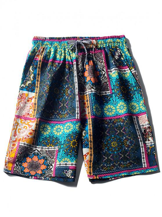 hot Tribal Floral Print Casual Board Shorts - CADETBLUE XS