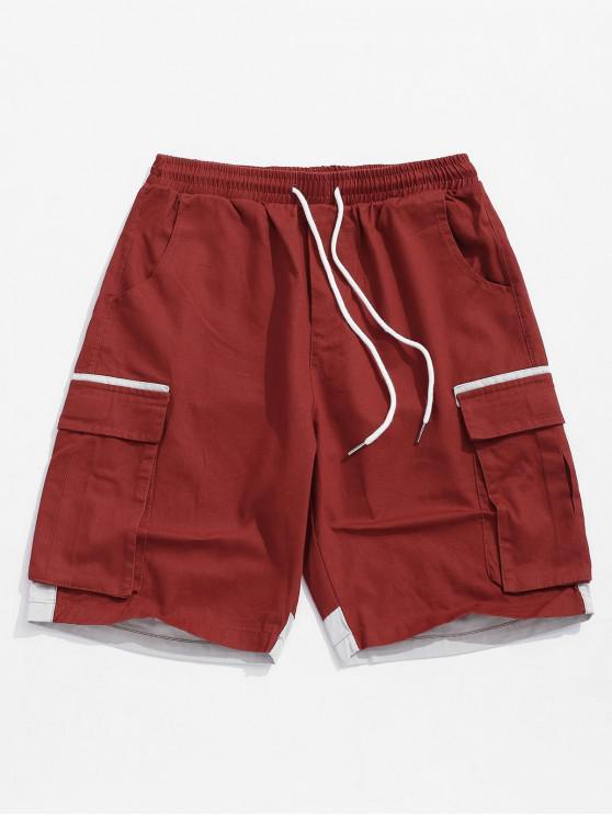 sale Applique Color Block Splicing Casual Shorts - RED M