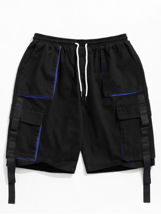 women Ribbon Pocket Elastic Cargo Shorts - BLACK S