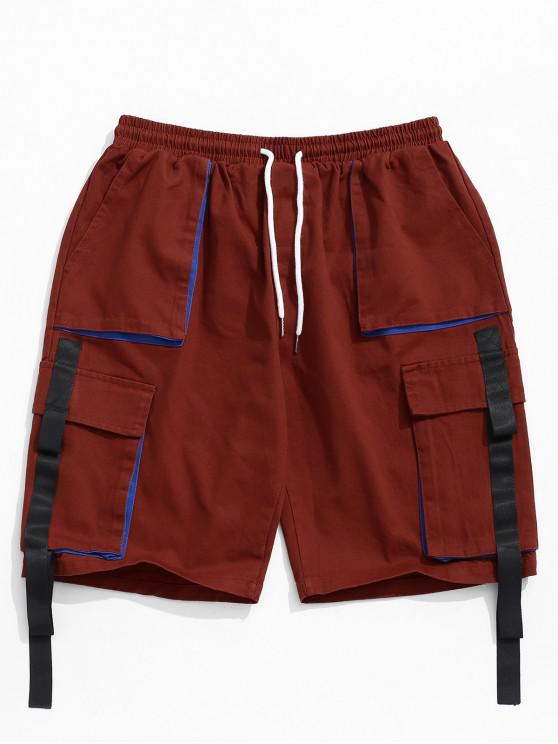 outfit Ribbon Pocket Elastic Cargo Shorts - CHESTNUT RED XL