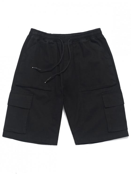 shops Applique Solid Color Casual Cargo Shorts - BLACK M