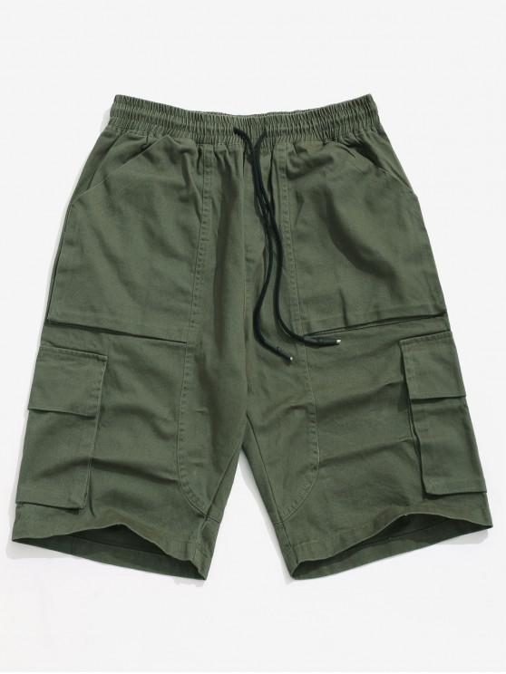 chic Applique Solid Color Casual Cargo Shorts - ARMY GREEN S