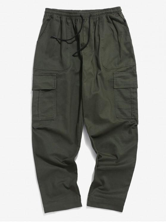 women Solid Color Casual Drawstring Pants - ARMY GREEN M