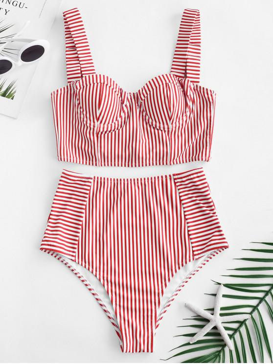 shops ZAFUL Stripe Lace-up Underwire Tankini Set - LAVA RED L