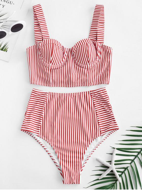 women's ZAFUL Stripe Lace-up Underwire Tankini Set - LAVA RED S