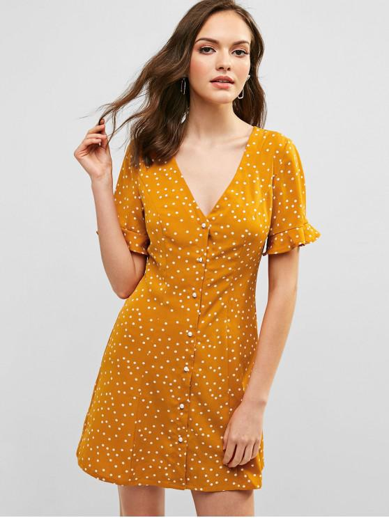 lady ZAFUL Polka Dot Button Up Plunging Dress - SANDY BROWN S