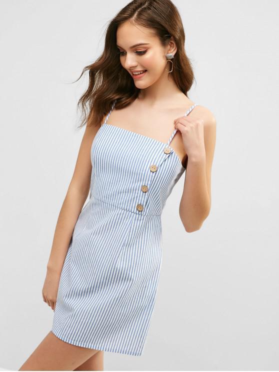 shops ZAFUL Striped Button Embellished Mini Dress - OCEAN BLUE L