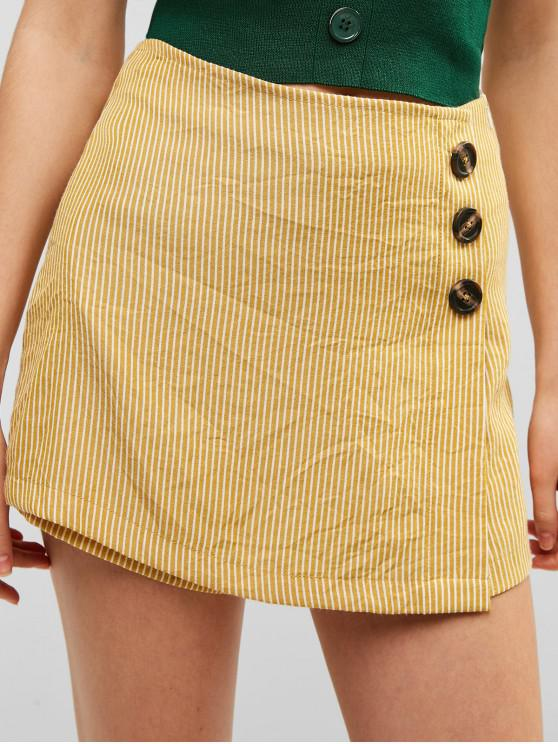 sale ZAFUL Button Embellished Striped Overlap Shorts - YELLOW L