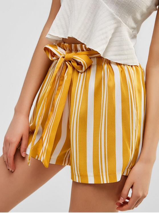 women Striped High Waist Shorts with Belt - SUN YELLOW S