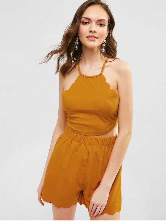 affordable ZAFUL Scalloped Cropped Top And Shorts Set - BEE YELLOW L