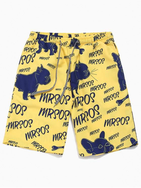 fashion Dog Letters Allover Print Casual Shorts - BRIGHT YELLOW L