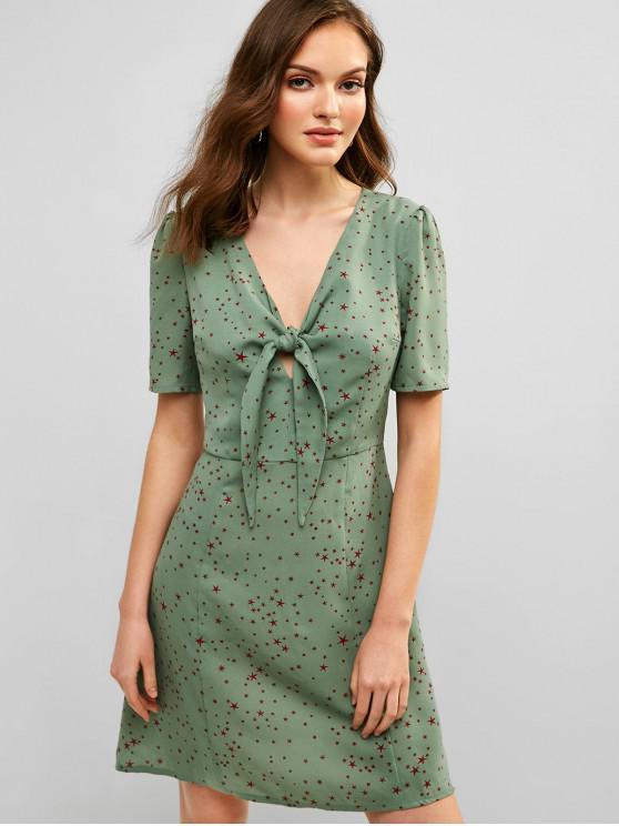 ladies ZAFUL A Line Star Print Knotted Dress - LIGHT SEA GREEN M