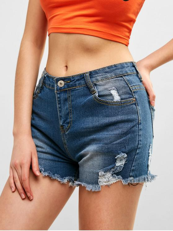 fancy Pocket Ripped Denim Shorts - DENIM DARK BLUE L