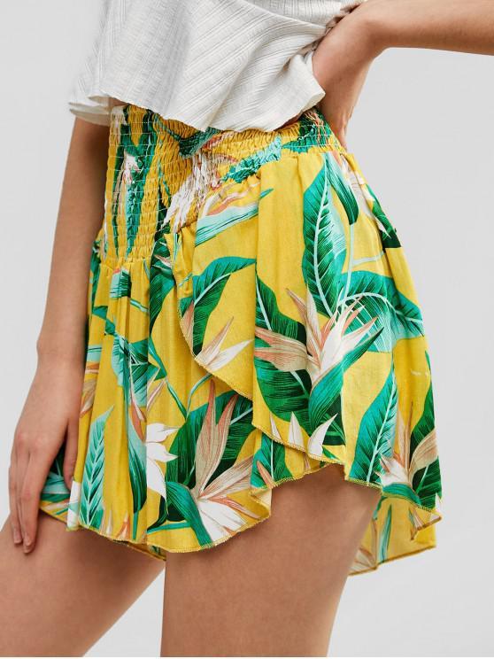 women's Smocked Floral Print Wide Leg Shorts - GOLDENROD S