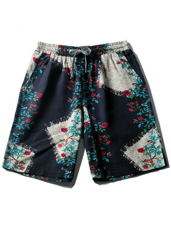 women's Floral Print Board Shorts - CADETBLUE M