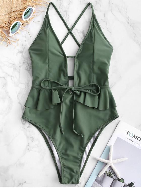 women ZAFUL Ruffle Lace-up Criss Cross Swimsuit - CAMOUFLAGE GREEN XL
