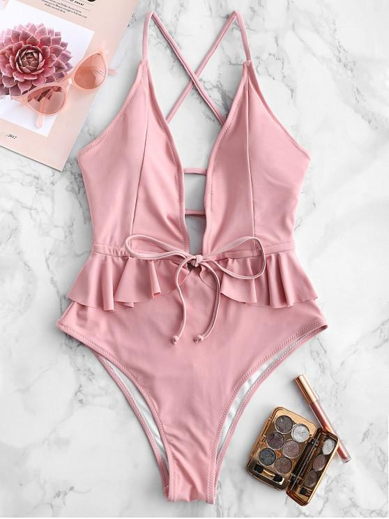 women's ZAFUL Ruffle Lace-up Criss Cross Swimsuit - ROSE M
