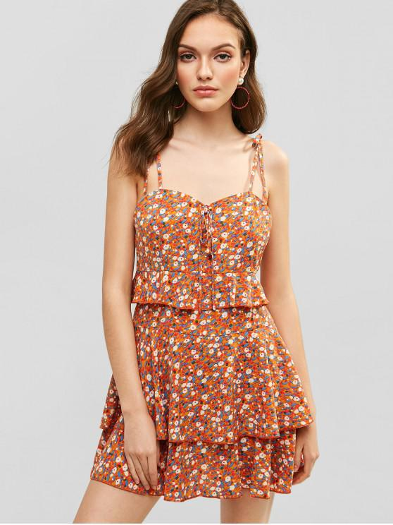 hot ZAFUL Floral Cami Layered Flounce Dress - TIGER ORANGE L