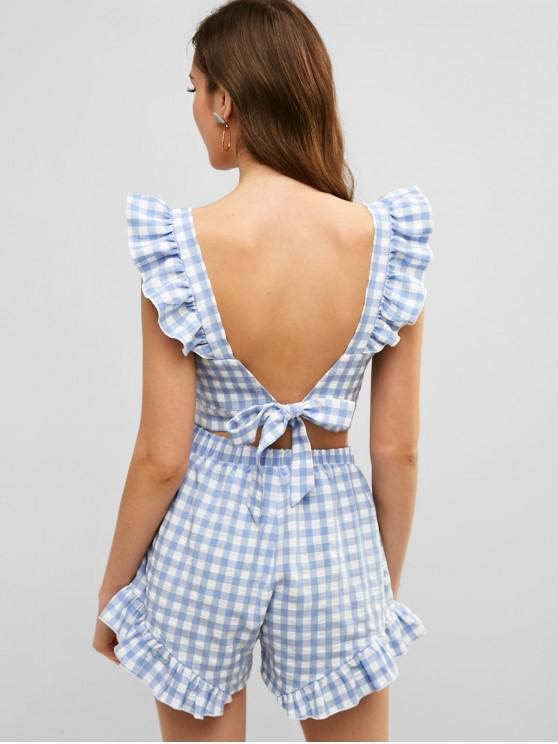 ZAFUL Ensemble de Short Noué au Dos à Carreaux à Volants - Bleu Toile de Jean M