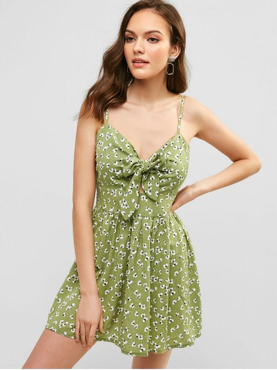 women ZAFUL Knotted Floral Cami Smocked Dress - CAMOUFLAGE GREEN L