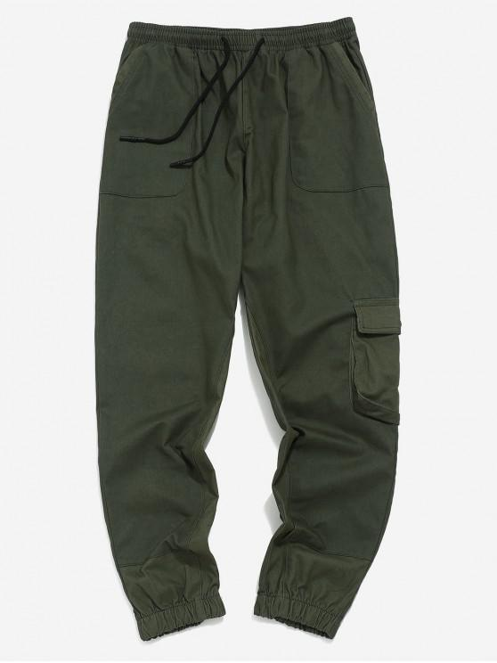 new Color Block Splicing Jogger Pants - ARMY GREEN L