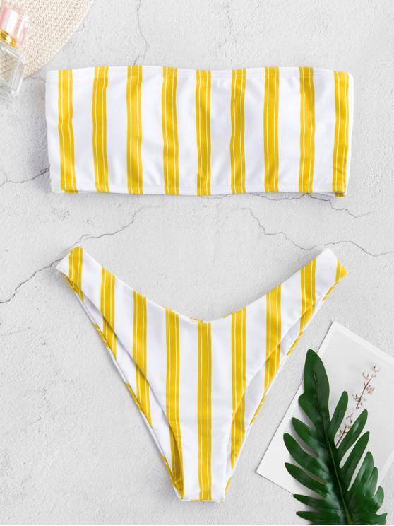 buy ZAFUL Stripe High Leg Bandeau Bikini Set - BRIGHT YELLOW M