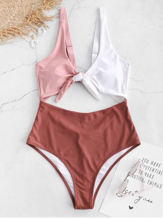 ladies ZAFUL Knot Color Block Cut Out Swimsuit - CHESTNUT RED S