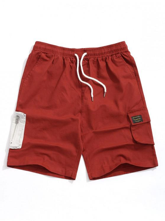 fancy Color Block Zipper Pocket Cargo Shorts - VALENTINE RED XL