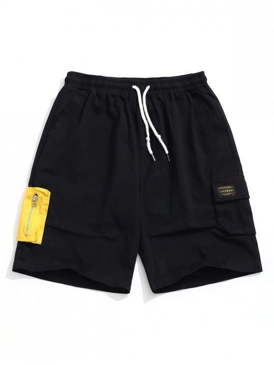 hot Color Block Zipper Pocket Cargo Shorts - BLACK XS