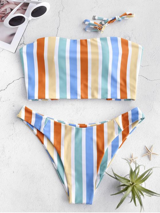 womens ZAFUL Crisscross Colorful Striped Bandeau Bikini Set - MULTI-A S