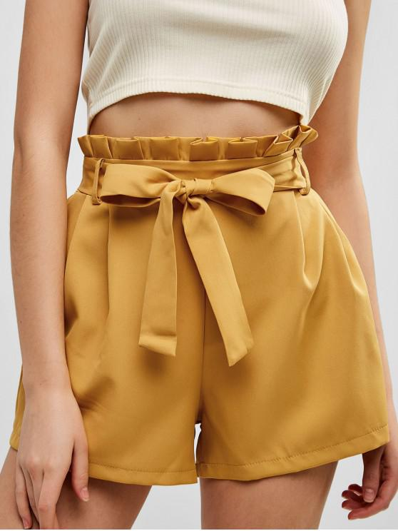 women Belted Ruffled High Waisted Shorts - BEE YELLOW XL