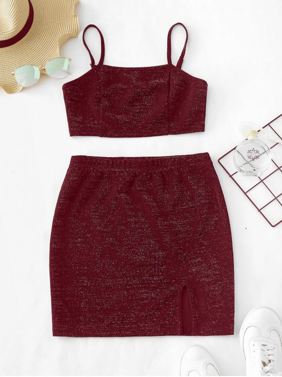 chic ZAFUL Glittery Crop Top and Skirt Matching Set - FIREBRICK M