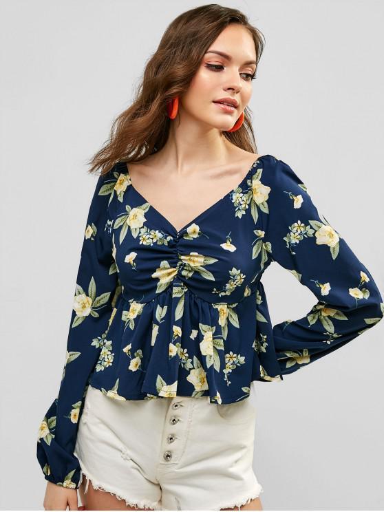 unique Smocked Back Ruched Floral Print Blouse - DEEP BLUE M