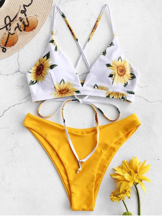 fashion ZAFUL Sunflower Criss Cross Bikini Set - RUBBER DUCKY YELLOW L