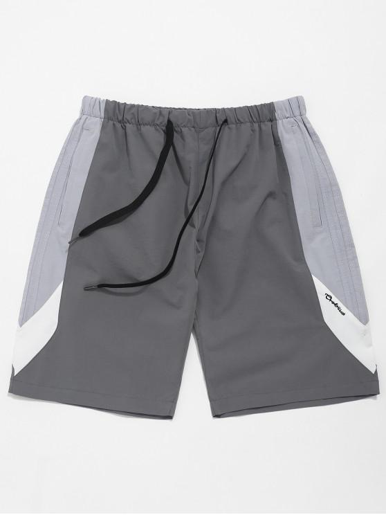 unique Color Block Splicing Drawstring Casual Shorts - BLUE GRAY XS