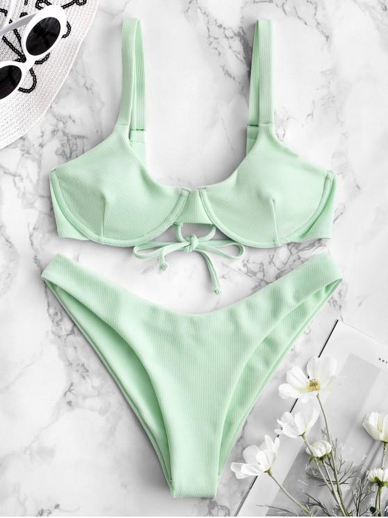 women ZAFUL Textured Underwire Balconette Bikini Set - MINT GREEN L