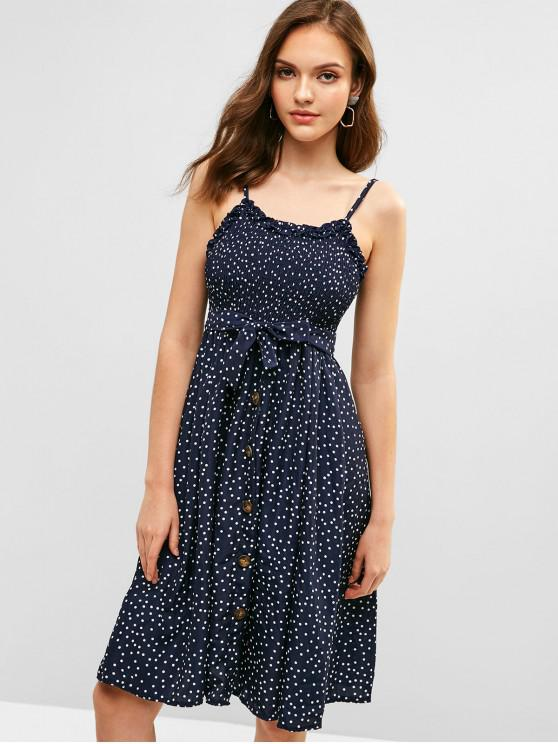 women Buttoned Smocked Dots Cami Dress - BLUE M