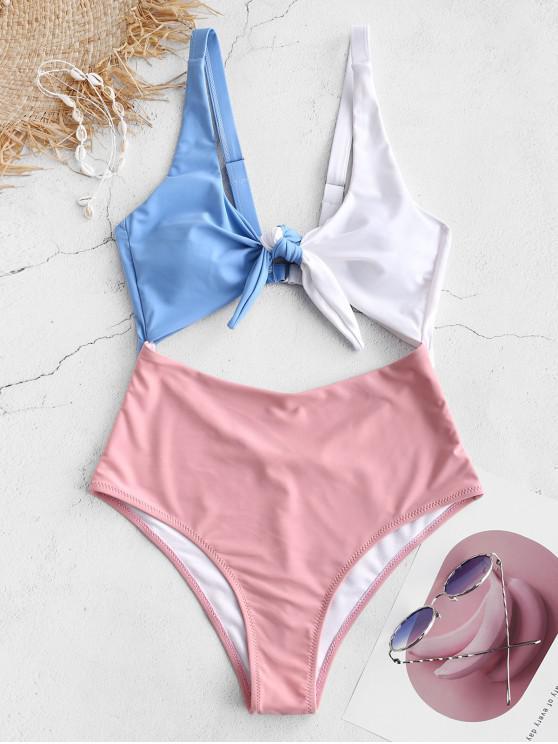 ZAFUL Knot Color Block Cut Out traje de baño - Rosado 2XL
