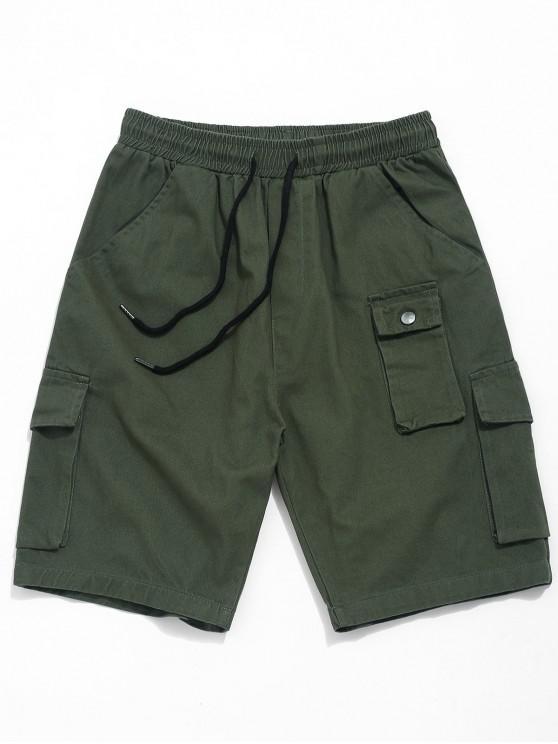 Shorts casuales elásticos multibolsillos en color liso - Ejercito Verde L