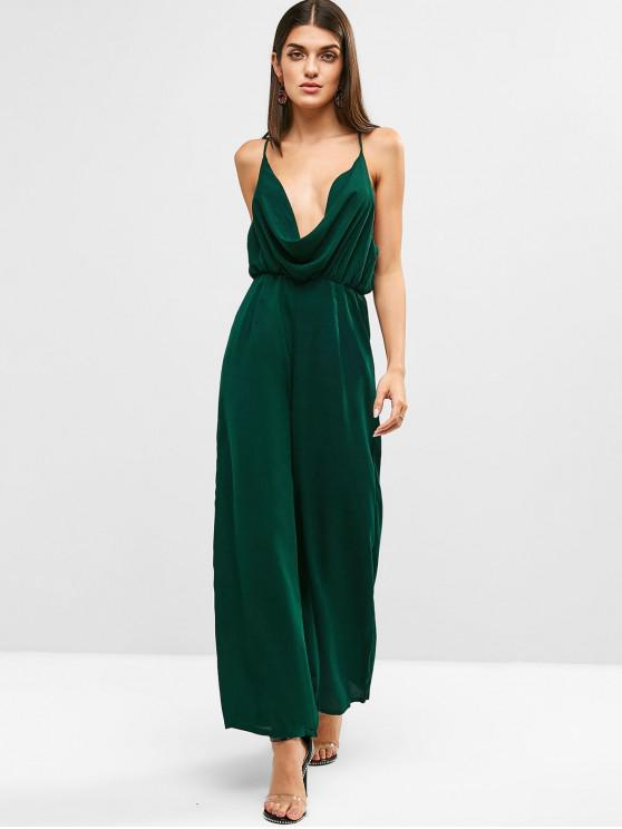 outfit Draped Wide Leg Jumpsuit - MEDIUM SEA GREEN XL