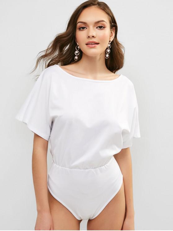 women's Batwing Sleeve Bodysuit - WHITE L