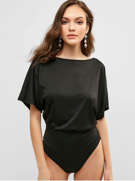 ladies Batwing Sleeve Bodysuit - BLACK M