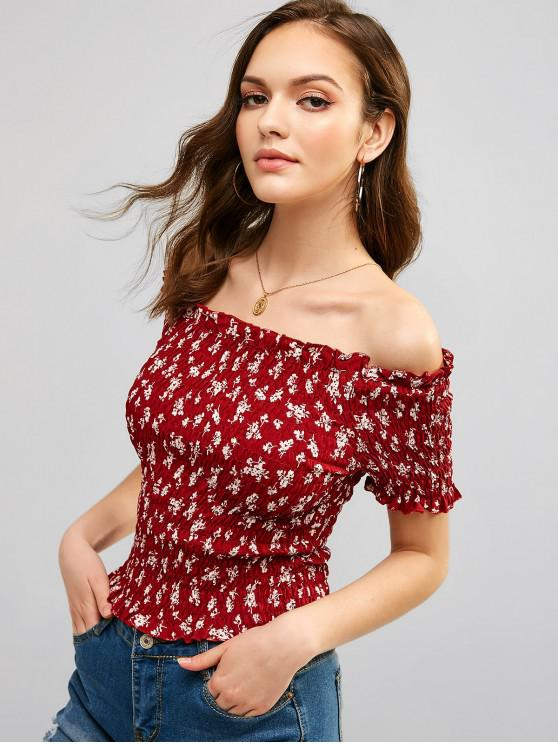 outfit Smocked Off Shoulder Floral Print Blouse - RED WINE S