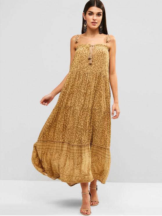 women's Tied Collar Printed Tassels Maxi Dress - YELLOW M