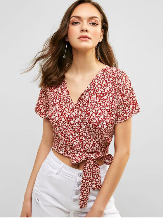 fancy Floral Crop Wrap Blouse - RED WINE S