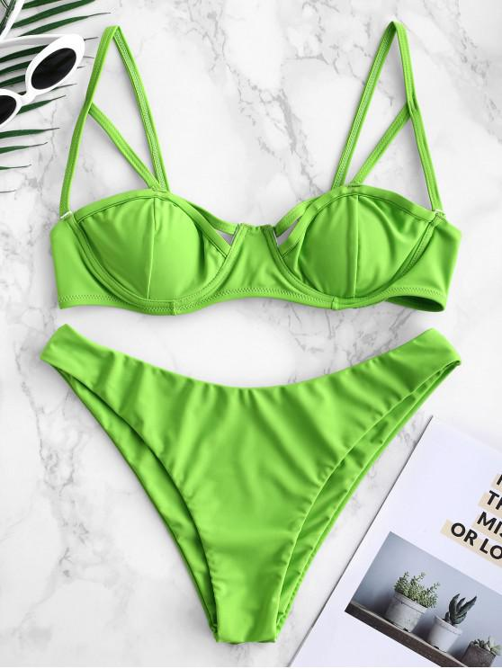 Bikini de balconet con aros y recorte ZAFUL - Amarillo Verde S