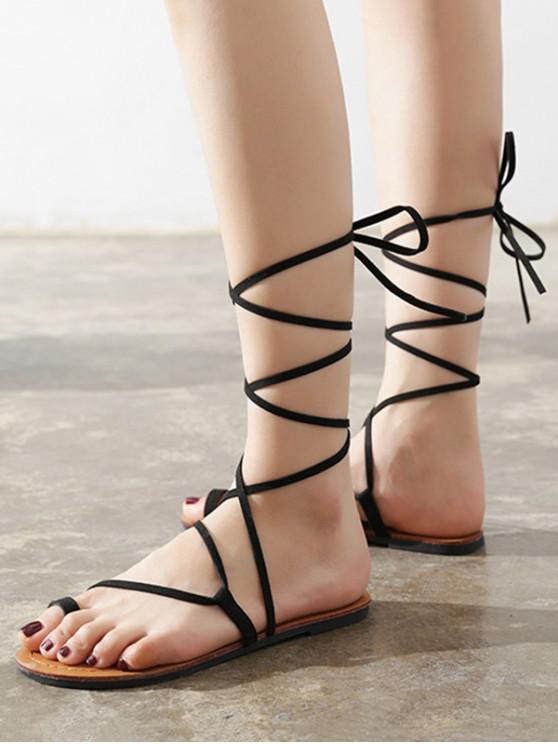 shops Flat Tie Up Gladiator Sandals - BLACK EU 38