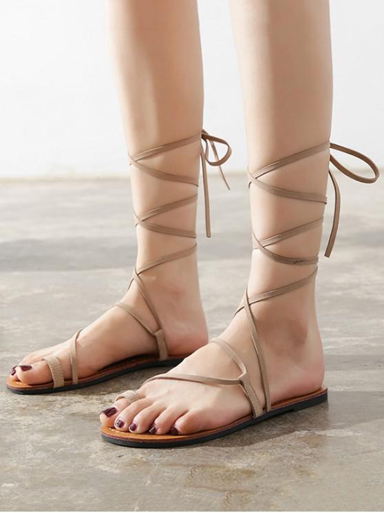 trendy Flat Tie Up Gladiator Sandals - APRICOT EU 39