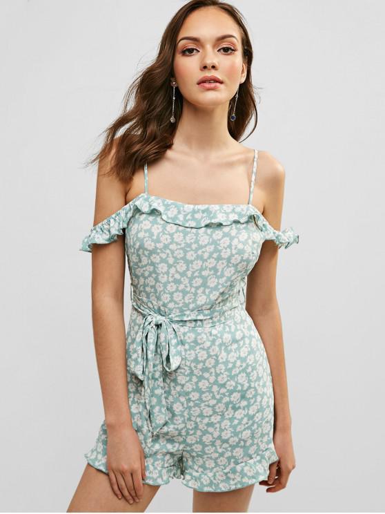outfit ZAFUL Floral Cold Shoulder Ruffle Romper - AQUAMARINE L