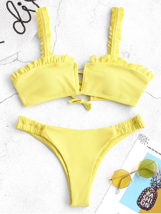 women ZAFUL V Wired Ruffle Low Waisted Bikini Set - YELLOW S
